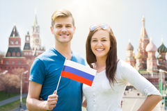 Young Couple Holding Russia Flag Stock Photos