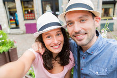 Young couple on holidays taking selfie Royalty Free Stock Images