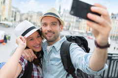 Young couple on holidays taking selfie Royalty Free Stock Photo