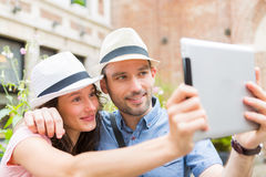 Young couple on holidays taking selfie Royalty Free Stock Photos