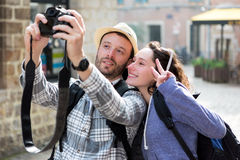 Young couple on holidays taking selfie Stock Photos