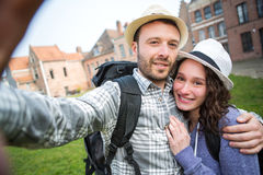 Young couple on holidays taking selfie Stock Photography