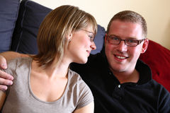 A Young Couple at Home Royalty Free Stock Images