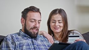 Young Couple at Home Buying on Internet stock video