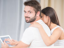 Young couple at home royalty free stock image