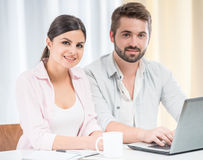 Young couple at home stock photo