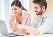Young couple at home stock image