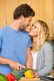 Young couple at home in the kitchen Stock Photo
