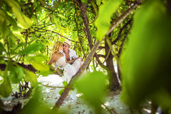 Young couple honeymooning royalty free stock photography