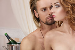 Young couple at the hotel, lovers Stock Image