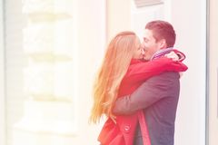 Young couple hugging and celebrating Valentines Day. royalty free stock photography