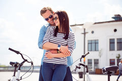 Young couple hugging in the city Royalty Free Stock Photo