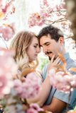 Young couple hugging with closed eyes royalty free stock photography