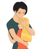 Young couple is hugging. Closing eyes. Vector illustration  on white Royalty Free Stock Photo