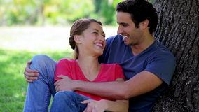 Young couple hugging each other while leaning against a tree stock video footage