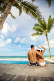 Young couple hugging  and enjoying in summer vacation Stock Image