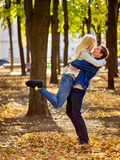 Young couple hugging and flirting in  park Stock Photo