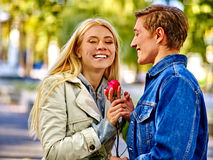 Young couple hugging and flirting in  park Stock Image