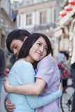 Young Couple Hugging in HouHai Area Stock Image