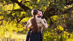 Young couple hugging stock video