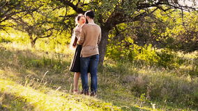 Young couple hugging stock footage