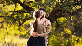 Young couple hugging stock video footage