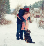Young couple hugging on outdoors in winter Royalty Free Stock Photo