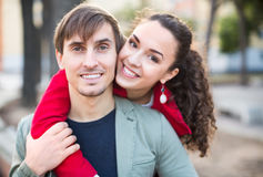 Young couple hugging in park Stock Images