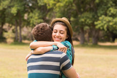 Young couple hugging in the park Royalty Free Stock Photos