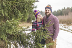 Young couple hugging in winter forest Royalty Free Stock Image