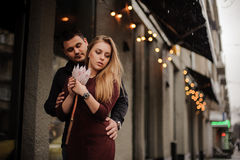 Young couple huging . date of loving couple. Royalty Free Stock Photos