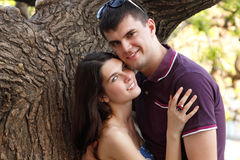 Young couple hugs over summer nature outdoor Royalty Free Stock Images