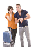 Young couple in a hurry royalty free stock photos