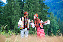Young couple in hutsul costumes Stock Photo