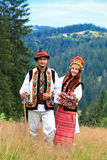 Young couple in hutsul costumes Royalty Free Stock Image