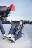 Young couple at ice rink Royalty Free Stock Photo