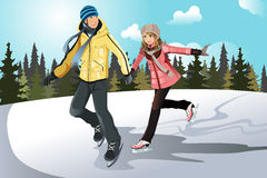 Young couple ice skating royalty free illustration