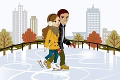 Young couple Ice Skating in city Stock Images