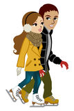 Young couple Ice Skating,isolated Royalty Free Stock Photography