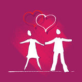 Young couple icon, love, heart motive Stock Photography