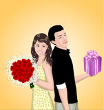 Young Couple Illustration. An illustration of a young couple holding gifts Royalty Free Stock Images