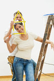 Young couple improving home Royalty Free Stock Images