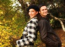 Young Couple In Autumn Park Stock Photos