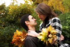 Young Couple In Autumn Park Stock Photography