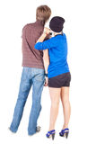 Young couple interestedly looks Royalty Free Stock Photography