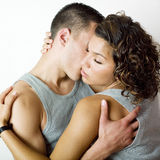 Young couple intimacy. With hugging and eyes closed Stock Images