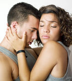 Young couple intimacy. With hugging and eyes closed Stock Photography