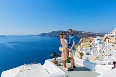 Young couple on island of Santorini stock photography