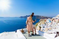 Young couple on island of Santorini stock image