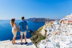 Young couple on island of Santorini royalty free stock image